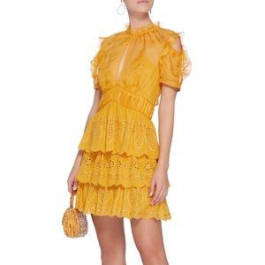 Self Portrait Tiered Mini Dress Yellow Marigold